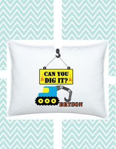 Construction Pillowcase Personalized Digger for Kids, #funkymonkeythreads, #FMT