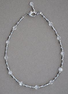 Jewelry - Anklets - Clear Crystal and Gray Beaded Anklet by JewelryArtByGail on Etsy