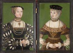 Diptych portraits of the wives of King Sigismund Augustus: Elizabeth of Austria and Barbara Radziwill (Dyptyk z portretami żon króla Zygmunta Augusta - Elżbiety Austriaczki i Barbary Radziwiłłowny), 3rd quarter of the 16th century