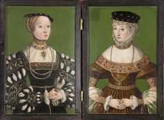 painted circa 1543–1551 - ~Polish artist in the circle of LUCAS CRANACH the Elder (1472 - 1553) - Diptych portraits of the wives of Sigismund II Augustus: Elizabeth of Austria and Barbara Radziwill, 3rd quarter of the 16th century. Collection of the Krakow National Museum, Poland.