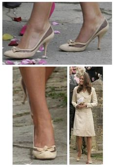May 6, 2006, Kate Middleton wore these cream pumps as she attended the wedding of Laura Parker Bowles & Harry Lopes. Designer unknown.