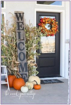 3 Fall Front Porch's: Three Ways- Day 2 3 Herbst Veranda: Drei Wege-Tag 2 - The Wood Grain Cottage