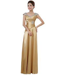 d2521d3f0e9 Drasawee Women s Sleeveless Satin Prom Party Wedding Dress Elegant Sequins  Maxi Formal Evening Gowns Gold UK8
