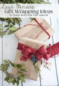 I love the look of these packages wrapped in plain paper and accented with a faux bois stamp.