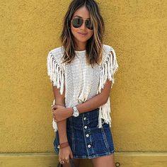 Mini falda jeans + polera blanca