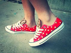 Leopard Print Spike Studded Converse by DeBowShop on Etsy, $105.00