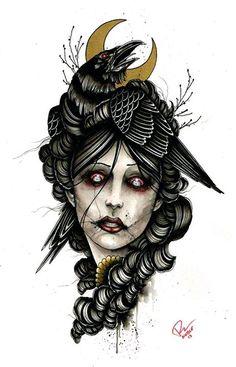 Raven girl thigh tattoo by Ink It Up Trad Tattoos Tattoo Sketches, Tattoo Drawings, Body Art Tattoos, Art Drawings, Rabe Tattoo, Neo Tattoo, Dessin Old School, Wow Art, Design Tattoos