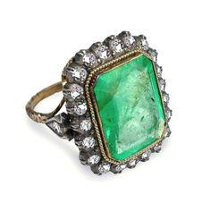 Emerald diamond ring - I love antique/vintage jewelry.