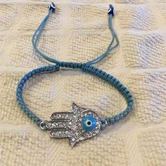 Hamsa Evil eye bracelet Hamsa Evil eye bracelet in blue and adjustable Jewelry Bracelets