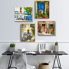 Beautiful Town Landscape Painting Canvas Art Prints And Posters Wall Pictures For Living Room Nordic Style Home Decor No Frame