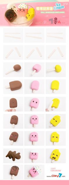glaces kawaii polymer clay diy You are in the right place about Polymer Clay Projects videos Here we Cute Polymer Clay, Cute Clay, Fimo Clay, Polymer Clay Projects, Polymer Clay Charms, Polymer Clay Creations, Clay Crafts, Fimo Kawaii, Kawaii Crafts