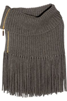 Gucci chunky-knit ribbed poncho: charcoal alpaca and wool-blend, braided fringing at hem. 50% alpaca, 50% wool. Dry clean.