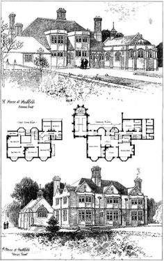 1901 – A House at Heathfield, Sussex  Architect: Basil Champneys  Perspective View including plans as published in The Building News, May 17th 1901.  0012