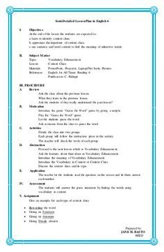 Semi-Detailed Lesson Plan in English 6 I. Objectives At the end of the lesson … Semi-Detailed Lesson Plan in English 6 I. Objectives At t. Grade 1 Lesson Plan, Lesson Plan Format, Lesson Plan Examples, English Lesson Plans, Daily Lesson Plan, Lesson Plan Templates, Sample Of Lesson Plan, Reading Lesson Plans, Science Lesson Plans