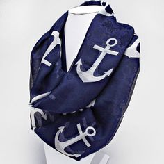 Nautical By The Sea Navy Blue and White Anchor Infinity Scarf