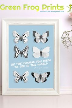 "This inspirational printed artwork has the popular quote by Mahatma Ghandi that reads: Be the change you wish to see in the world."" and is surrounded by beautifully detailed butterflies to represent transformation into what's beautiful... Many sizes available, printed with eco-friendly vibrant inks on high quality paper. Satisfaction guaranteed. Makes a great gift for someone facing or needing change. #bethechange #ghandi #inspirational #poster #prints #butterflyart #homedecor #change #print"