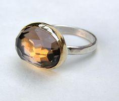 Brown Smoky quartz Gold ring
