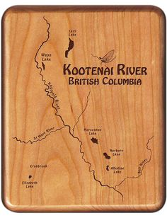 KOOTENAI RIVER MAP FLY BOX - Fly Fishing British Columbia - Handcrafted, Custom Designed, Laser Engraved by STONEFLY STUDIO - Fly Boxes are available in 5 Different Woods and Include Fly Fishing art on the back plus a personal name and inscription. THE PERFECT FLY FISHING GIFT - Made in Montana
