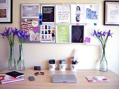 office space ideas - Love the picture board above the desk !
