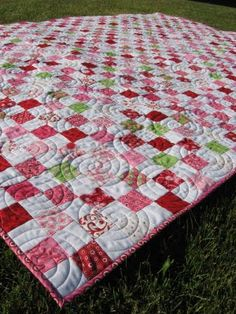 Postage Stamp Quilt cool color patterning idea for grannies.....