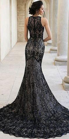 Dark Romance: 24 Gothic Wedding Dresses ★ gothic wedding dresses mermaid vintage sleeveless black and white mon cheri bridals#bridalgown #weddingdress