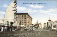 San Diego Downtown's Broadway circa 1923.  www.makersquarter.com