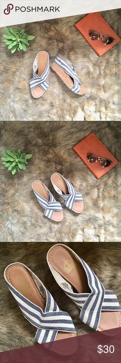 Nicole Wedge Sandals Cute cork wedge sandals with a navy and white canvas straps in fair condition. *price is firm Nicole Shoes Wedges