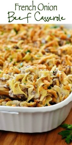 French Onion Beef Casserole will win hearts all around the dinner table. It is delicious, full of flavor and so comforting!This French Onion Beef Casserole will win hearts all around the dinner table. It is delicious, full of flavor and so comforting! Beef Casserole Recipes, Easy Hamburger Meat Recipes, Onion Casserole, Hotdish Recipes, Hamburger Noodle Casserole, Hamburger Gravy, Supper Ideas With Hamburger, Easy Beef Recipes, Lasagna Casserole