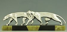 Art Deco sculpture of two panthers by Michel Decoux, France 1920, marble base.