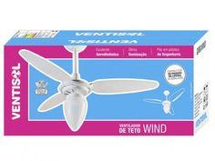 Ventilador de Teto Ventisol Wind 3 Pás Branco - para 1 Lâmpada com as melhores condições você encontra no Magazine Raimundogarcia. Confira!