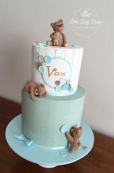 Torta Baby Shower, Tortas Baby Shower Niña, Baby Shower Cakes For Boys, Baby Boy Birthday Themes, Baby Birthday Cakes, Baby Cakes, Elegant Birthday Cakes, Teddy Bear Cakes, Baby Showers