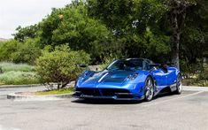 Download wallpapers Pagani Huayra, blue sports coupe, tuning, carbon case, hypercar, Pagani