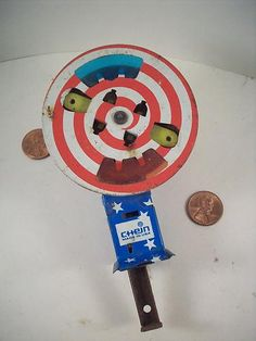 "Original 1950's-60's-vintage Tin/Metal ""4th of July"" NOISE-MAKER Pin-Wheel toy!"