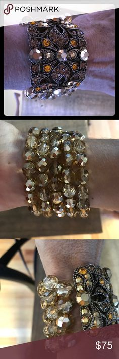 Beautiful gold and topaz crystal cuff! An amazing statement piece or arm candy for any holiday party! Only been worn twice. In perfect condition! Badgley Mischka Jewelry Bracelets