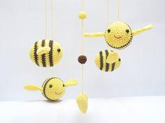 Bumble bee Baby Mobile, Nursery Mobile, Nursery Decor, Shower Gift, Baby Gift,  Amigurumi, Crochet, by Cherrytime  $83