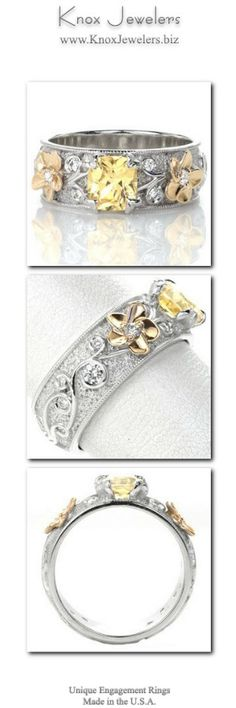 With a distinctive feminine style and wider 14k white gold band presence, this unique engagment ring displays a 1.15 carat yellow sapphire within four petal prongs. Dimensional elements of 14k yellow gold flowers and hand formed stippling background provide contrast, making the different colors pop within the design. The band is wide enough that the ring could also be used as a wedding band.