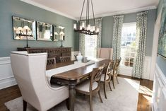 Dining Room Design. New South Home Couture Garden Gate drapes