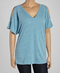 Another great find on #zulily! Blue Cutout V-Neck Tee - Women & Plus by TROO #zulilyfinds