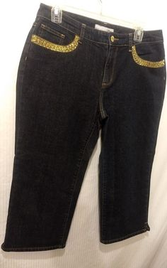 8bc0cd339f4 Women CHICOS PLATINUM Gold Embellished Pocket Blue Capri Jeans Size 1.5   fashion  clothing