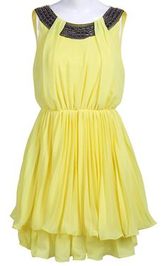 Yellow Sleeveless Bead Bandeau Chiffon Dress