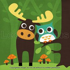 230B Bright Moose and Owl Friends 6x6 Print by leearthaus on Etsy, $15.00