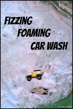Fizzing foaming car wash made with shaving foam, baking soda and vinegar. Mask the smell of the vinegar by adding peppermint extract.