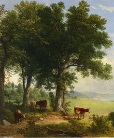 'nel `shade` del vecchio quercia albero', olio di Asher Brown Durand (1796-1886, United States)
