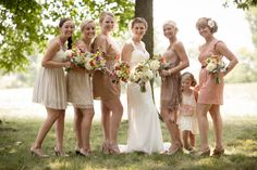 Pale neutral wedding party