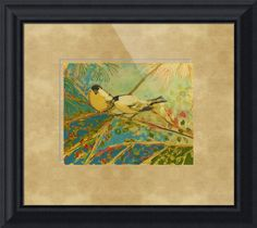 """Two Goldfinch Found"" by Jennifer Lommers, Corvallis, OR // Fine Art by Northwest Artist Jennifer Lommers: From a mixed media (Acrylic and India Ink) series of birds returning to my garden as Spring approaches. I hope you enjoy!The original artwork is size 16 x 20 inch. I do not recommend prints sized larger than the original when pl... // Imagekind.com -- Buy stunning fine art prints, framed prints and canvas prints directly from independent working artists and photographers."