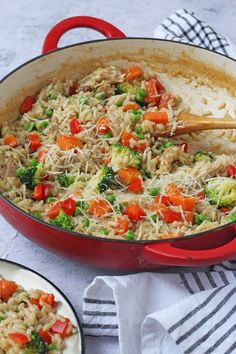 A delicious and easy risotto made with leftover roast chicken and vegetables. This recipe even uses the chicken carcass to make a very tasty stock! Toddler Chicken Recipes, Leftover Chicken Recipes, Roast Chicken Recipes, Leftovers Recipes, Healthy Chicken Recipes, Toddler Meals, Easy Meals For Kids, Easy Family Meals, Chicken Carcass Recipe