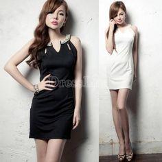 $ 6.84 Temperament Sexy Women Pearl Collar Sleeveless Hollow Out Slim Short Dress