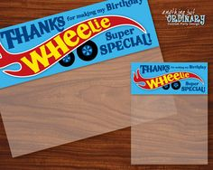 Wheelie Special Birthday Bag Toppers, DIY Editable Favor Bag Labels, INSTANT DOWNLOAD printable digital file