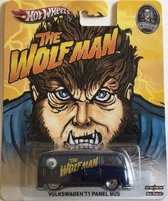 2013 Hot Wheels Pop Culture Wolfman Volkswagen T1 Panel Bus Monsters Blue 1.64 #HotWheels