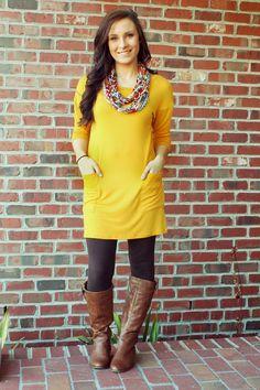 Button Back Tunic: Mustard